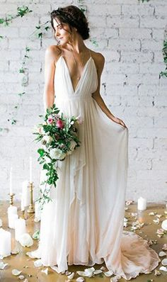 Backless Wedding Dress,Deep V-neck Beach Wedding Dresses,Sweep Train Beach Wedding Dresses With Straps,Chiffon Wedding Dress