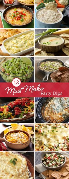 Can't decide on a dip? Stock up on chips, crackers and veggies, and try one—or more!—of these crowd-pleasing recipes: everything from Beer Cheese to Buffalo Chicken to Seven-Layer Bean Dip. They're all great for Game Day, holidays or parties! Finger Food Appetizers, Appetizer Dips, Appetizers For Party, Appetizer Recipes, Snack Recipes, Cooking Recipes, Dip Recipes, Hummus, Gourmet
