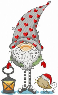 Gnome in phrygian cap with hearts holding lantern machine embroidery design from. Gnome in phrygian cap with hearts holding lantern machine embroidery design from Christmas collection Embroidered on black bag looks adorable. Christmas Towels, Christmas Aprons, Christmas Gnome, Christmas Art, Christmas Ornaments, Christmas Items, Embroidered Towels, Theme Noel, Christmas Paintings