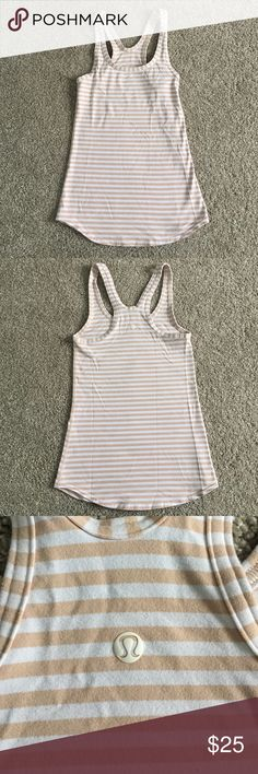 Lululemon Studio Racerback Tank Striped Lululemon Studio Racerback Tank in white and and nude/blush colored stripes! Size 4, in excellent condition! Always washed cold and hung to dry! lululemon athletica Tops Tank Tops