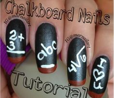 It's that time again! Whether schools in your area began the new year weeks ago, or don't start for nearly another month, begin pulling out these paints and try some adorable chalkboard nail art done by IG @MarNailArt!, Back-to-School Chalkboard Nails, China Glaze, Matte Polish, Orly, Cool Nail Designs, Nail It! Magazine
