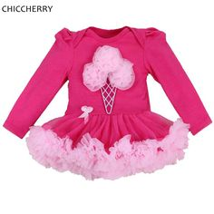 >> Click to Buy << Ice Cream Applique Birthday Tutu Outfits Cotton Full Sleeve Toddler Lace Tutu Overall For Kids Ropas De Bebe Baby Girl Clothes #Affiliate