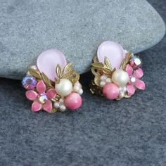 Lovely, Vintage, Floral, Rhinestone, Earrings, Pink, Pearls, Clip on, Mid century, Detailed by BonfireStudio on Etsy