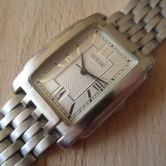 Retro steel GUESS dress watch - Guaranteed Genuine, rare gents quartz wristwatch, original steel strap & battery fitted. by EWcoLondon on Etsy