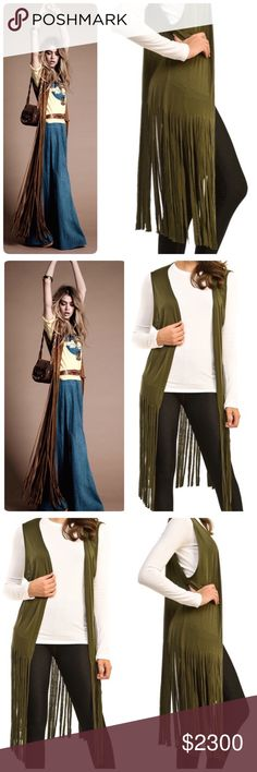 Coming Soon.  Olive Fringe Vest Measurement and actual product picture will be updated. ❤️Rayon/Spandex❤️ Jackets & Coats Vests