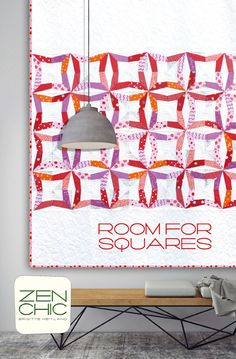 All shades of fiery red, purple, pink and warm orange go into the paper pieced blocks, which get their charm from the modern background textured low volumes. The pattern is ROOM FOR SQUARES by ZEN CHIC, fabric line is HEY DOT for Moda. You can download your PDF-pattern.
