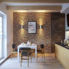 Condo Design, Loft Design, House Design, Interior Design Kitchen, Interior Decorating, Brick And Wood, Brick Wall, Small Dining, Exposed Brick