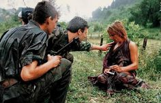 """Traumatized woman, Bosnian Muslim rape victim. Photo taken by Anthony LLoyd. The NGO """"Woman - Victim of War"""" (Žena - Žrtva Rata) has documented more than 25,000 rapes of women in Bosnia-Herzegovina, many of them occurred in the Srebrenica region before and during the Srebrenica genocide."""