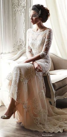 30 Long Sleeve Wedding Dresses For Fall/Winter Bride maggie sottero bateau sheath gown in lace! Bridal Veils / www. Long Sleeve Wedding, Wedding Dress Sleeves, Elegant Wedding Dress, Dress Wedding, Vintage Wedding Gowns, Wedding Ceremony, Elegant Bride, Vintage Weddings, Dress Vintage