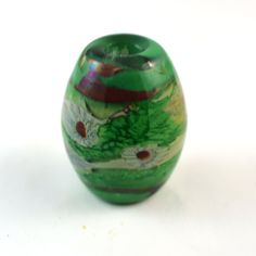Mosaic Green with Tiny Red Murrini Handmade Glass Lampwork Bead by GlassyFields on Etsy