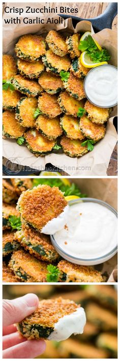 "Crisp Zucchini Bites with Garlic Aioli Dip - Yes please! - Crisp Zucchini Bites with Garlic Aioli Dip – Yes please! "" Crisp Zucchini Bites with Garlic Ai - Think Food, I Love Food, Good Food, Yummy Food, Zucchini Crisps, Zucchini Bites, Breaded Zucchini, Fried Zucchini Chips, Zucchini Cake"