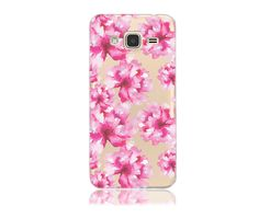 Samsung Galaxy J3 Express Amp Prime SM-J320A Clear TPU with Cotton Flowers Design Soft and Flexible Silicone Skin Phone Case | www.nucecases.com | #samsung #nucecases