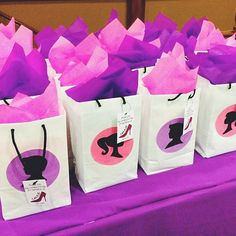 Barbie and Ken Silhouette on gift bags for a Pink and Purple fashion show party…