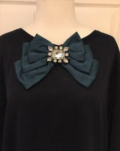 SALE - Bow, Teal and Crystal Bow, Brooch, Pins, Gift for her, trendy, sophisticated, one of a kind, embellished, rhinestone, Teal Satin bow