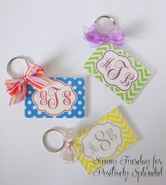 Custom Monogram Key Chains. Can be made in minutes! Free templates provided. #crafts #giftideas