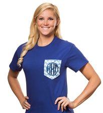 Kappa Kappa Gamma Chevron Pocket T-shirt Cutters sassysorority.com