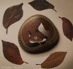 Fox with gold eyes on stone by JillHoffman on DeviantArt