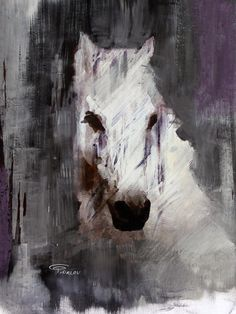 """Queen. Extra Large Horse, Unique Horse Wall Decor, White Rustic Horse, Large Contemporary Canvas Art Print up to 72"""" by Irena Orlov"""