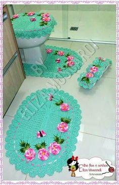 Nilsa Crochet Diy, Crochet Home, Vintage Crochet, Crochet Stitches Patterns, Crochet Designs, Bathroom Sets, Crochet Projects, Girly, Kids Rugs