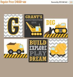 ★CONSTRUCTION Wall Art, Trucks CANVAS or Prints Boy Nursery, Big Boy Bedroom, Dump Truck Theme, Dig Build Explore Dream Playroom Set of 6 ★Includes 6 pieces of wall art ★Available in PRINTS or CANVAS (see below) ★SIZING OPTIONS Available from the drop down menu above the add to cart button with prices. >>> ★PRINT OPTION Available sizes are 5x7, 8x10, & 11x14 (inches). Prints are created digitally and printed with UltraChrome Hi-Gloss ink on professional 68lb satin luster photo paper…