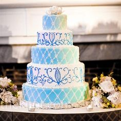 blue quinceanera cakes buttercream frosting - ooooo, Ariana would like this...2 tiers only. The colors are right on