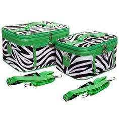 awesome Green Trim Zebra Makeup Train Cases with Mirror, 2 Piece Cosmetic Set - For Sale Check more at http://shipperscentral.com/wp/product/green-trim-zebra-makeup-train-cases-with-mirror-2-piece-cosmetic-set-for-sale/