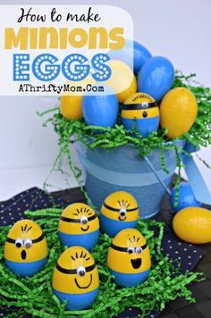 If you can make a Minion with a pumpkin you can certainly do it with an egg!!!Happy Easter!!!-Lissa. And yes definitely too cute to eat!!! holiday, minions, idea, crafti, stuff, minion egg, despicable me crafts for kids, minion easter, easter eggs
