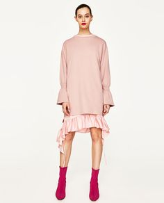 Image 1 of PLUSH DRESS WITH FLARED SLEEVES from Zara