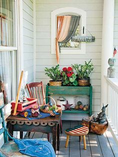 Cheerful porch decor ~ Country Sampler