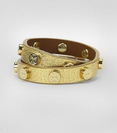 Tory Burch Metallic Double Wrap Logo Stud Bracelet