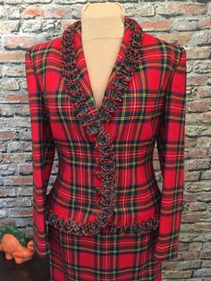 Vintage Givenchy Couture Christmas Red Plaid Skirt Suit Made in France Size  42 USA Size 6 ca028f25d1bc3