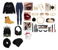 """Outfits #39"" by emelygabriela on Polyvore featuring Topshop, Timberland, MICHAEL Michael Kors, Beats by Dr. Dre, Tiffany & Co., Incase, Ray-Ban, Charlotte Tilbury, Lulu*s and Forever 21"
