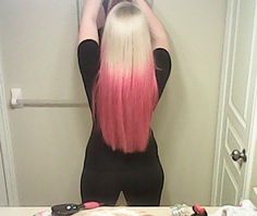 my blonde and pink ombre hair