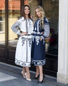 The blue one definitely! Stylish Dress Designs, Stylish Dresses, Casual Dresses, Modest Outfits, Modest Fashion, Fashion Dresses, Gala Dresses, Embroidered Clothes, Russian Fashion