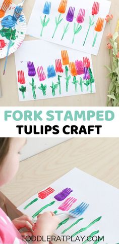 Fork Stamped Tulips Craft
