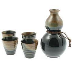 Japanese Sake Set Gourd Oribe Brown & Black on AsianFoodGrocer.com