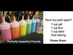 How to make homemade paint - 1 cup of salt, 1 cup of flour, 1 cup of water, and food coloring. Fun Crafts For Kids, Craft Activities For Kids, Summer Crafts, Creative Crafts, Toddler Activities, Diy For Kids, Craft Ideas, Fun Ideas, Kids Fun