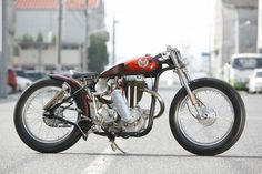 Matchless G80 is a single cylinder 500 cc British motorcycle built by Associated Motorcycles (AMC) between 1946 and 1966. The G80S has rear suspension. source: HEIWA MOTORCYCLE