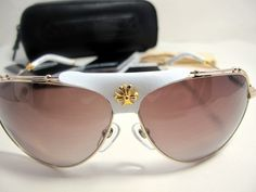 406b94cc4024 Valuable Kufannaw Ii Gold White Chrome Hearts Sunglasses New