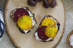 Walnut bread, toasted, softened goat cheese and honey roasted beets.