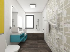 Kids' unisex bathroom   by CADFACE Unisex Bathroom, Czech Republic, Bathrooms, Bathtub, Kids, Design, Standing Bath, Young Children, Bathtubs