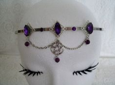 Priestess Pentacle Circlet, wiccan jewelry pagan jewelry wicca jewelry crown gypsy witch goth magic pentagram witchcraft metaphysical mystic