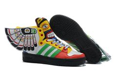 Famous American designer Jeremy Scott has always walk in the forefront of fashion, every year he will launch the most attractive design products, 2013 Jeremy Scott Wings Totem 2.0 Womens Adidas Originals shoes inspired by the Indian, the white upperjoin the totem pattern of different colors, this shoe perfect rendering of the Indian style. view http://www.newjeremyscott2u.com