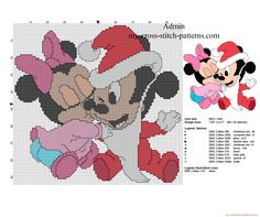 Baby Minnie and Mickey Mouse Christmas kiss free cross stitch pattern