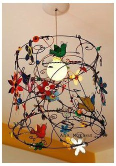 Painting Lamp Shades, Painting Lamps, Lamp Makeover, Vintage Birds, Vintage Lamps, Wire Crafts, Lampshades, Wire Lampshade, Lampshade Ideas
