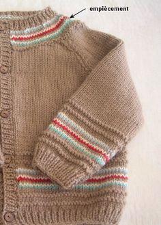 gilet-camel coloris assortis Baby Knitting Patterns, Baby Clothes Patterns, Baby Patterns, Clothing Patterns, Baby Cardigan, Cardigan Bebe, Dress With Cardigan, Pullover Design, Sweater Design