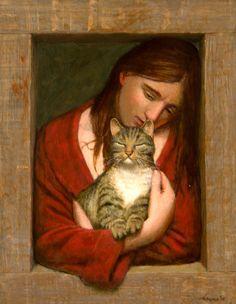 By Kenne Gregoire (b. 1951, Dutch), 2016, Meisje met poes (Girl with cat), Acrylic on panel, 50 x 40 cm.