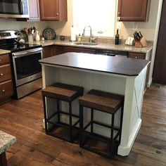 Kitchen Island With Granite Top, Granite Tops, Black Granite, Granite Counters, Kitchen Wet Bar, Home Helpers, Wood Counter, Vintage Farm, Weathered Wood