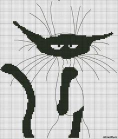 Схема для вышивки крестом: Кошка черно-белая - Животные - Каталог статей - Бесплатные схемы для вышивки крестом