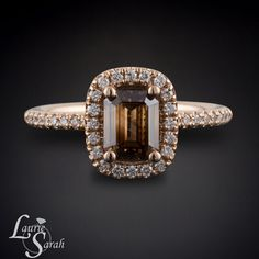 Chocolate Diamond Engagement Ring Rose Gold by LaurieSarahDesigns